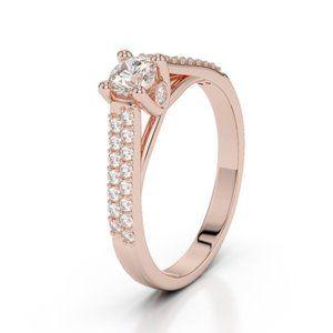 14K Rose gold prong 1.90 carats sparkling diamonds